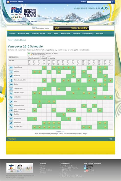 Umsl Mba Schedule by Vancouver 2010 Schedule