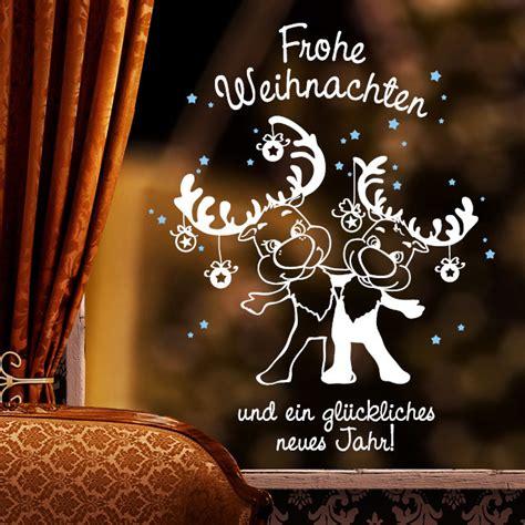 Fensteraufkleber Weihnachten by Fensteraufkleber Elche Quot Frohe Weihnachten Quot 2farbig