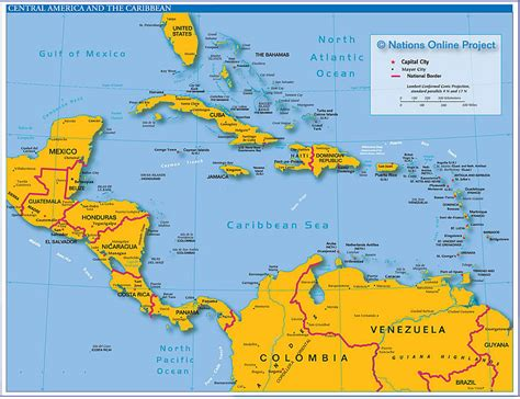 political map of central america and the caribbean west