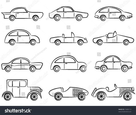 doodle car combination vintage cars doodle icons set stock vector illustration