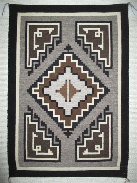 Two Grey Rug by Two Grey Navajo Rug By Alfrieda Nathaniel Smaller