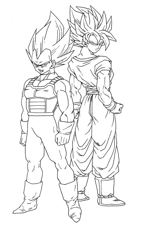 dragon ball z coloring pages vegeta and goku kids coloring