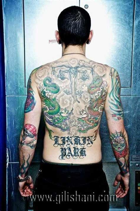 tattoo design upton park chester bennington back tattoos linkin park linkin