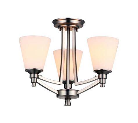 Dvi Lighting Fixtures Dvi Lighting Dvp7203bn Op Buffed Nickel With Half Opal Glass Georgetown Three Light Semi Flush