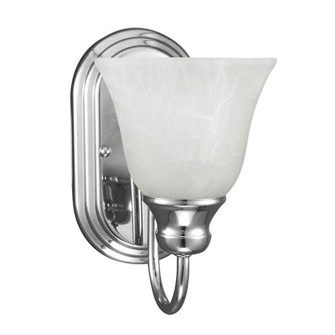 Chrome Wall Sconce Sea Gull Lighting Windgate 1 Light Chrome Wall Bath Sconce With White Alabaster Glass 41939 05