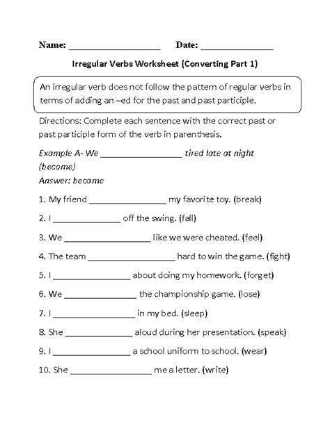 Irregular Preterite Worksheet by Worksheets For Irregular Preterite Verbs In