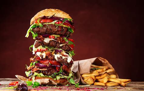 Wallpapers Hamburger French fries Buns Fast food Food