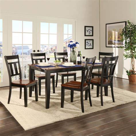charity 7pc dining room set in cherry table chairs formal homesullivan cherry hill 7 piece rich cherry and black