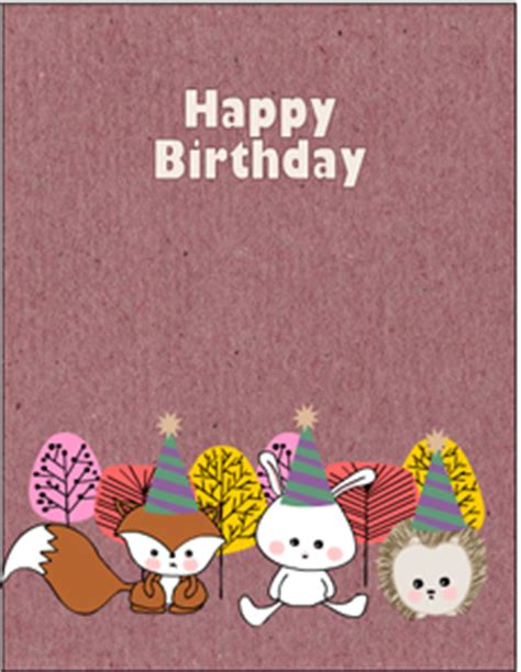 printable animal birthday cards free printable woodland birthday cards