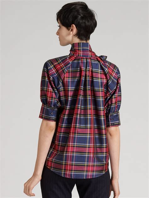 mock two plaid blouse moschino plaid taffeta blouse in lyst