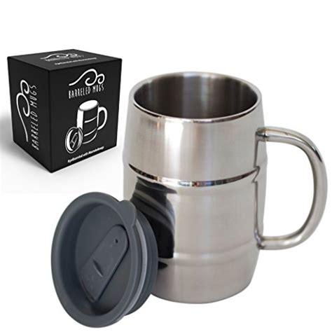 Stainless Steel Beer Mug w/ Bonus Lid, 17oz Dual Wall Air Insulated Beer & Beverage Mug / Coffee