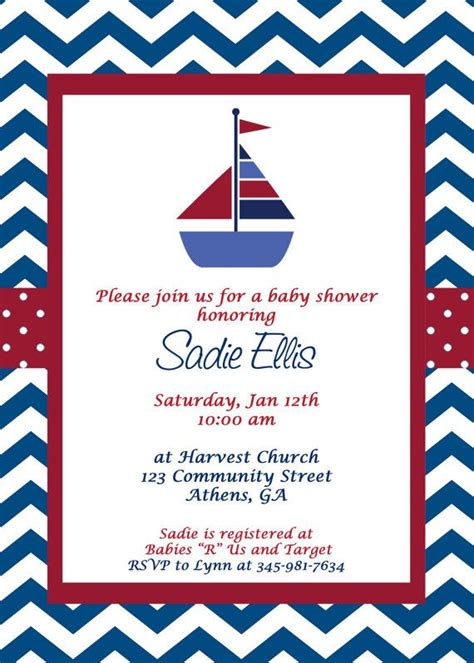 Baby Shower Taglines by Printable Nautical Baby Shower Invitation Sailboat