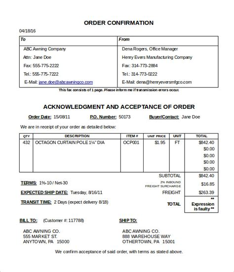 order confirmation template 24 free word excel pdf
