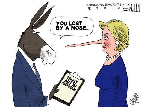 hillary political cartoons cartoon see how hillary lost michigan conservative