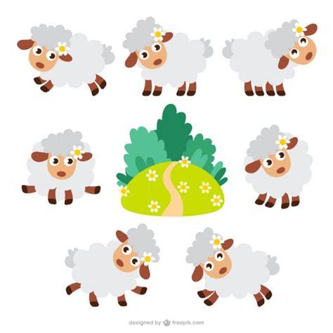 imagenes animadas ovejas paquete de ovejas de dibujos animados descargar vectores