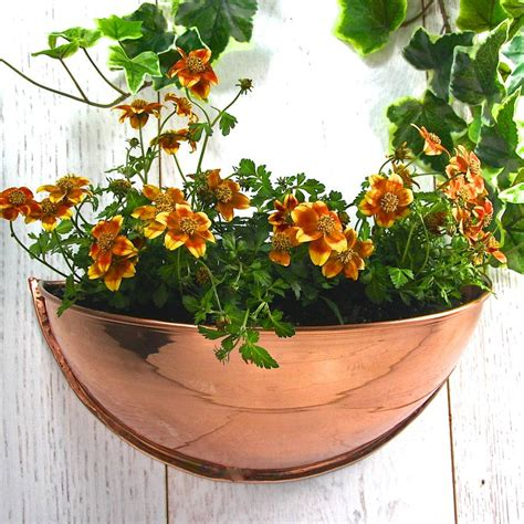 copper half moon wall planter by garden trading