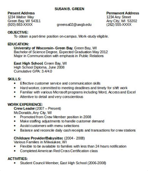 part time resume template 10 sle resumes templates pdf doc free