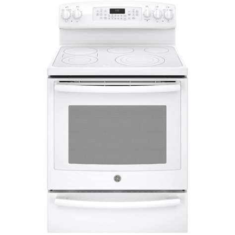 Electric Range With Warming Drawer by Ge Profile Pb930thww 5 3 Cu Ft Free Standing