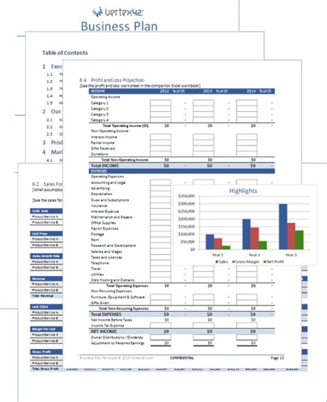 business plan templates free business plan template for word and excel