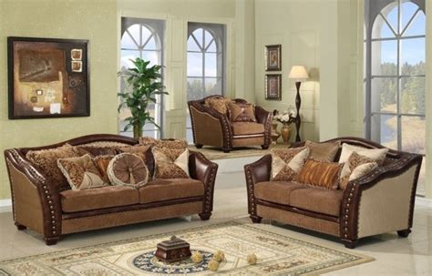 Traditional Living Room Furniture Sets by Mcferran Home Furnishings 3 Warm Brown Corner Sofa Set Sf2781 3pc Traditional