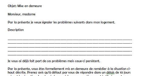 Exemple Lettre Mise En Demeure Avant Huissier Exemple Mise En Demeure Logement Document