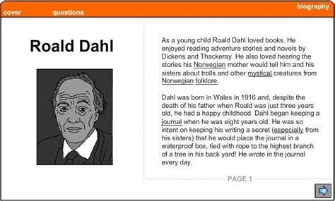 roald dahl biography for students roald dahl biography english skills online interactive