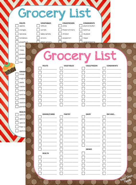 editable shopping list template grocery list blank form and template with polka dot