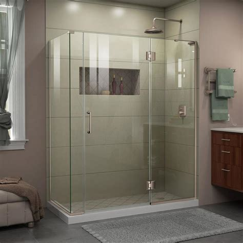 Brushed Nickel Shower Door Shop Dreamline Unidoor X 57 In To 57 In W Frameless Brushed Nickel Hinged Shower Door At Lowes