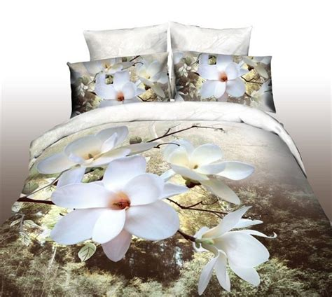Tommony Bed Cover Magnolia 3d bedding white magnolia flower 3d bed set promotion cotton polyester comforter duvet quilt
