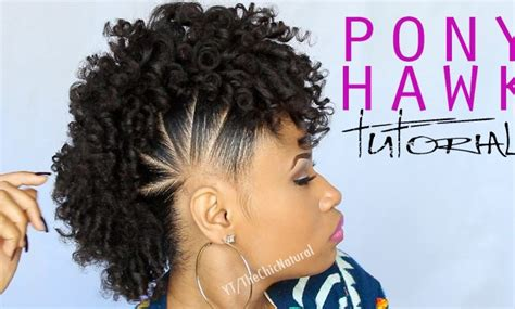 natural hairstyles for christmas party fun pony hawk curly natural hairstyle video tutorial