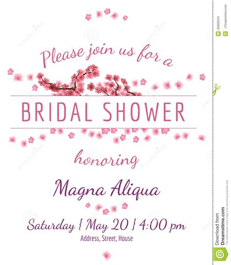 Invitation Bridal Shower Card With Sakura Vector Stock Vector Illustration Of Floral Bridal Shower Place Cards Templates