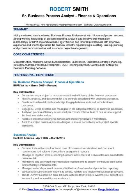 Business Analyst Resume Qualifications by Business Process Analyst Resume Sles Qwikresume