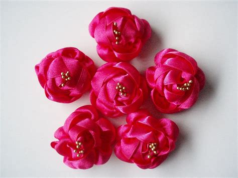 Handmade Ribbon Flowers - items similar to handmade fushia ribbon flower appliques