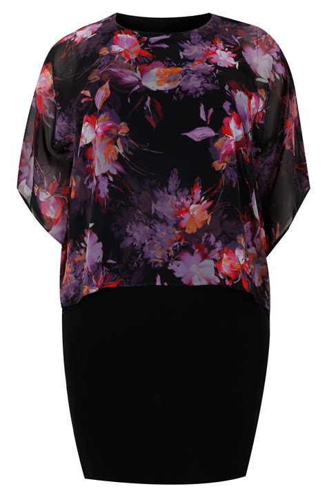 black multi jersey midi dress with floral print chiffon