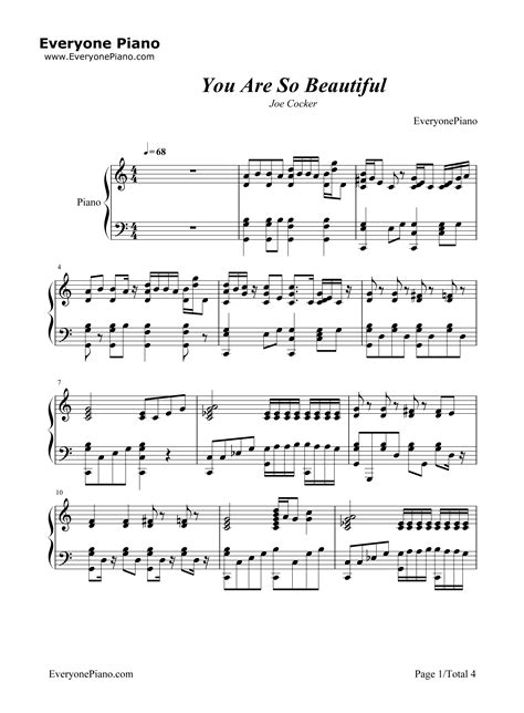 tutorial piano joe cocker you are so beautiful joe cocker stave preview 1 free