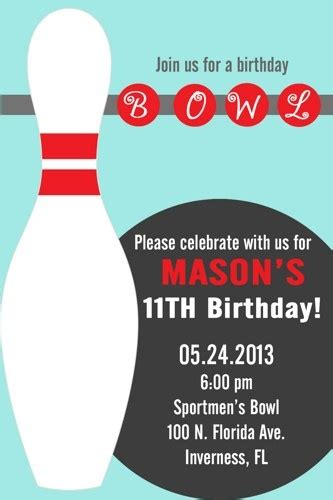 bowling card template diy printable boy or bowling invitations