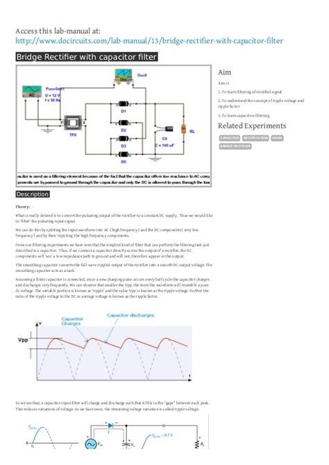 diode bridge rectifier filter diode bridge rectifier filter 28 images wave rectifier with filter circuit simulator new