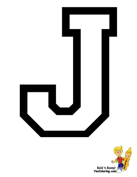 Letter J sports college alphabet coloring free college sports