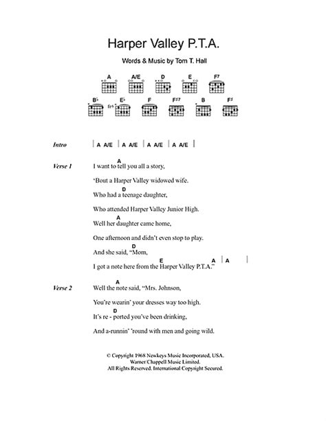 printable lyrics to harper valley pta harper valley p t a sheet music by jeannie c riley
