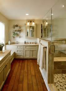 wood floor tiled shower bathroom house ideas pinterest