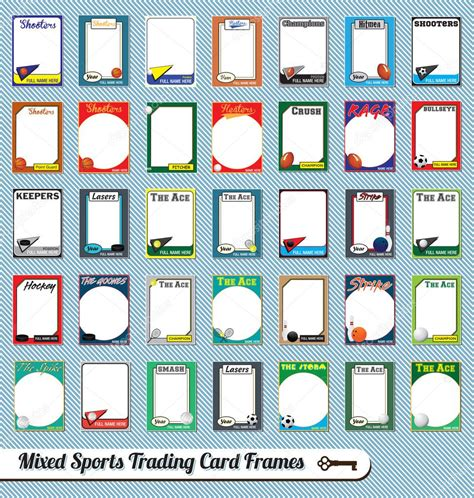 illustrator baseball card template vector set retro mixed sports trading card picture frames