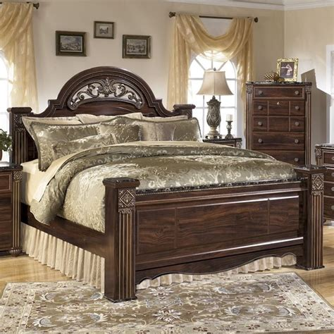 ashley queen bed ashley gabriela wood queen poster panel bed in brown