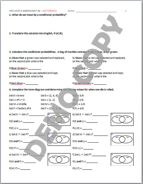 Conditional Probability Worksheet by High School Geometry Common Hss Cp A 1 Sle