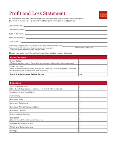 quarterly profit and loss statement template quarterly profit and loss form images