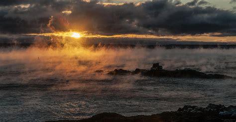sea smoke sea smoke sunrise photograph by marty saccone