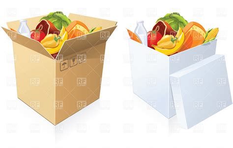 cuisine box basket of goods cardboard boxes with food vector image