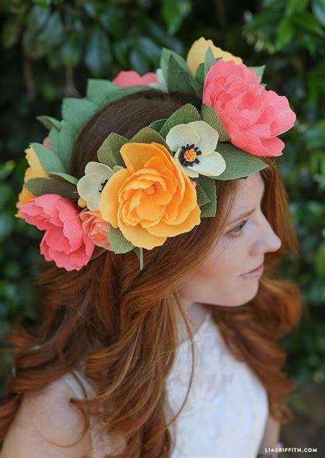 diy paper flower crown tutorial diy crepe paper flower crown diydry co