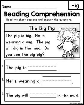 Reading Comprehension Passages - Word Families by Kaitlynn