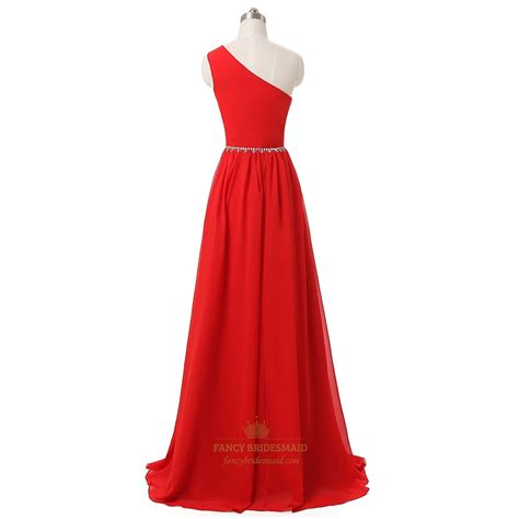one shoulder a line chiffon floor length beaded prom