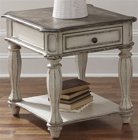 white end tables magnolia manor antique white end table from liberty